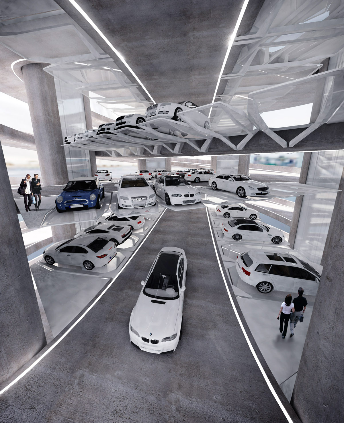Design of car parking - Two Spiral Ramps Forms A Dna Shape Provide Spaces In Between Both For Car Parking And Car Exhibition The Dna Spiral Leaves Six Hollows Running Through All